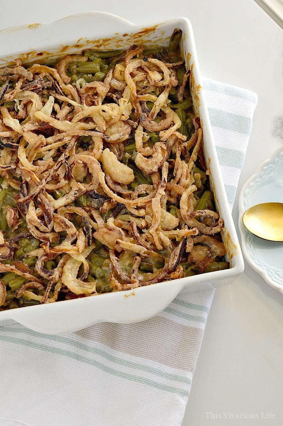 Gluten-Free Green Bean Casserole w/ Homemade Fried Onions #howtofryonions
