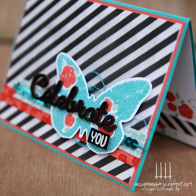 Holly's Hobbies: So much to love! Floral Wings by Stampin' Up! paired with the new vellum from the holiday catalog makes for a bold and fun card! Color combo is Bermuda Bay, Calypso Coral, Mint Macaron & Basic Black
