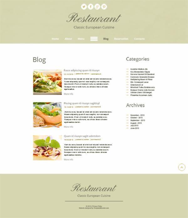 Scandinavian Chic In Free Html5 Theme For Restaurant Site 推酷 Menu Design Restaurant Scandinavian
