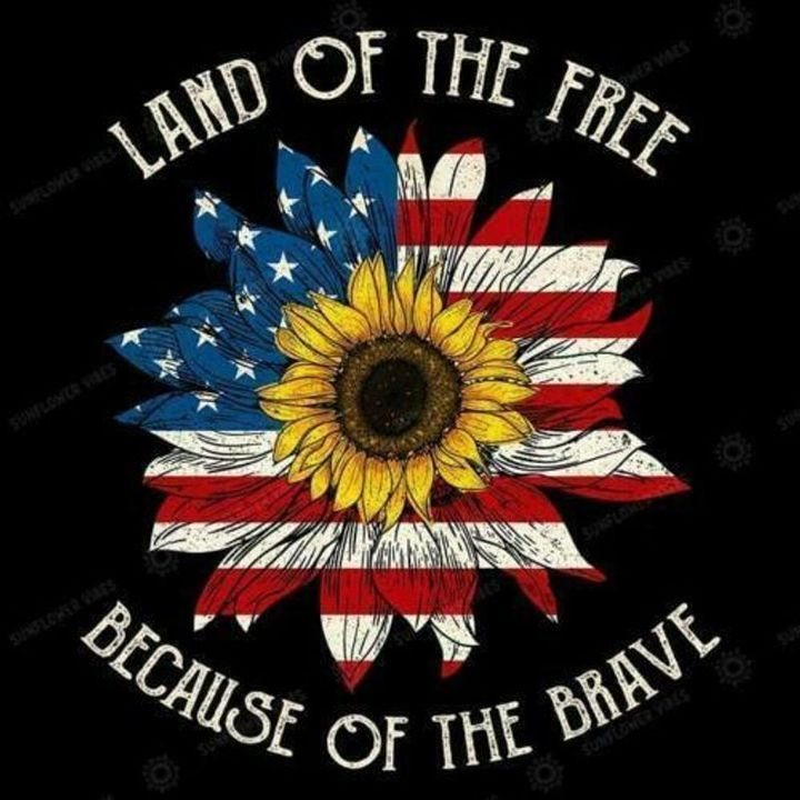 Sunflower Us Flag Land Of The Free Becuase Of The Brave Men T-Shirt Co