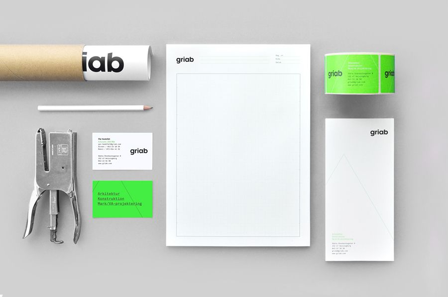 Logo and stationery with fluorescent green print treatment for architecture and engineering firm Griab designed by Kollor.