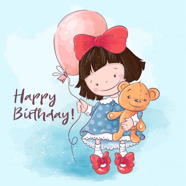 Pleasant Happy Birthday Greeting Card Illustration Cute Cartoon Girl With Funny Birthday Cards Online Elaedamsfinfo