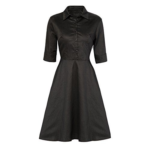 Fedi Apparel Womens Vintage 1950s Flare Pleat Lapel Collar A Line Sewing Dress >>> See this great product.