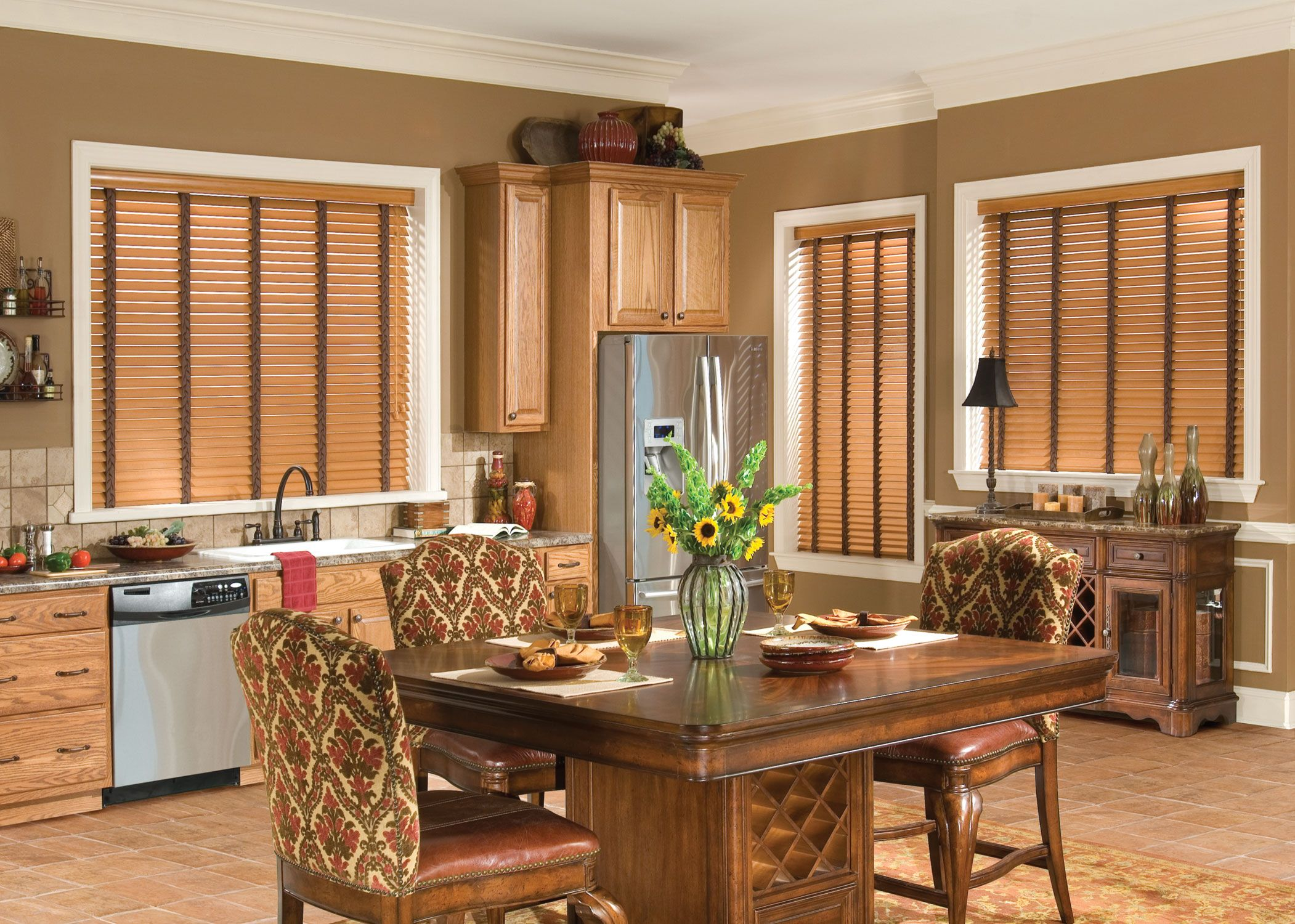 Window blinds ideas  wood window treatments  tan walls faux wood blinds and cleaning