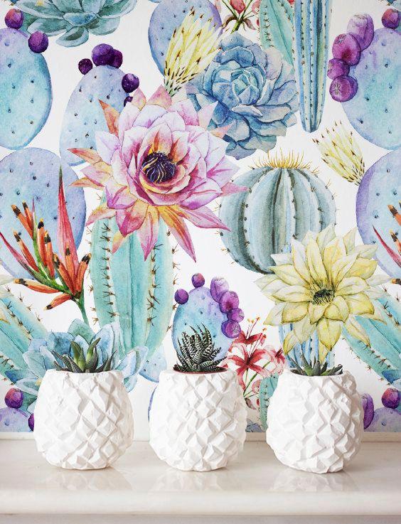 Watercolor cactus wallpaper removable wallpaper self adhesive wallpaper floral wall d cor - Wall flower design ...