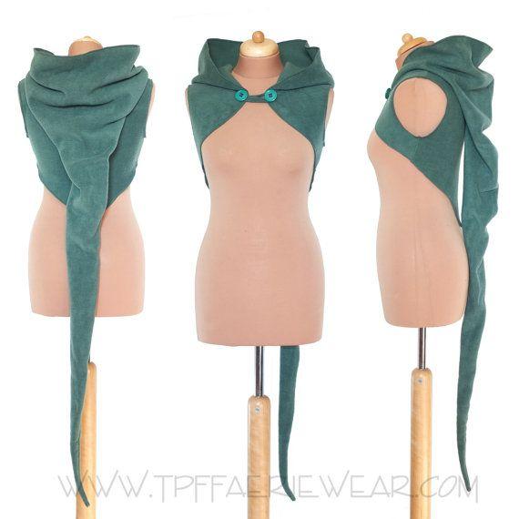 Plain Fleece \'Korrigan\' Shrug- Ultimate pixie hood/Sleeveless ...