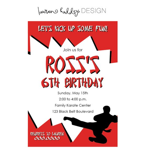 Karate Birthday Ninja Party Invitation Printables