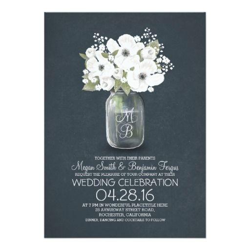 "rustic floral mason jar wedding invitation 5"" x 7"" invitation card"