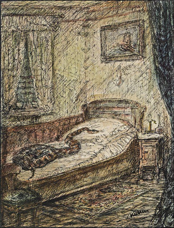 amare-habeo:  Alfred Kubin (Austrian, 1877 - 1959) - The snake in bed (Die Schlange im Bett ), 1915-1920