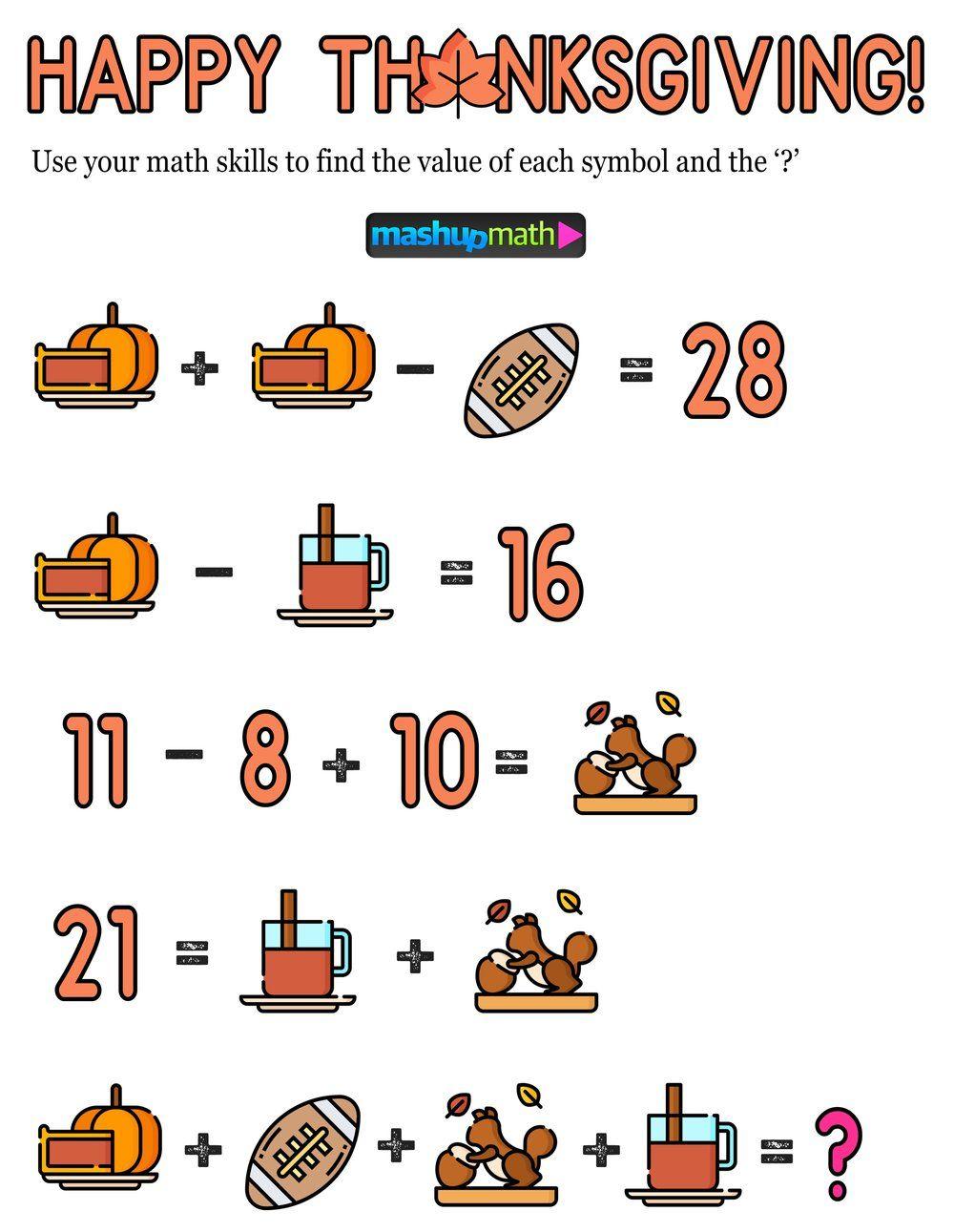 12 Thanksgiving Math Activities For Grades 1 8 Mashup Math Thanksgiving Math Thanksgiving Math Activities Math