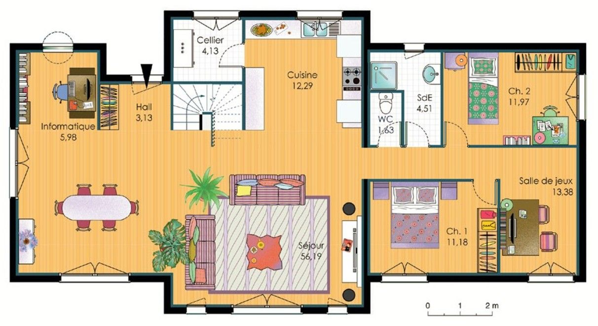 Plan maison bois geth pinterest house layouts house - Plan maison r 1 gratuit ...