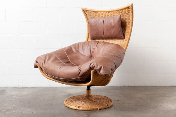Beau Leather And Rattan Lounge Chair By Gerard Van Den Berg For Montis