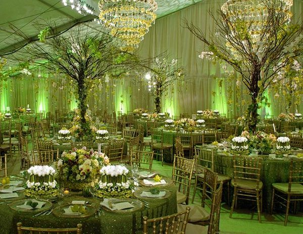 Green wedding theme wedding accessories decoration for Green spring gardens wedding