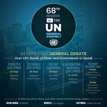 """UN Week"" is here!  What issues will be on the agenda of the more than 130 world leaders expected to attend? This infographic features a few of the biggest events. Get all the details here and find out what is scheduled for Monday here: http://j.mp/15NlofW"