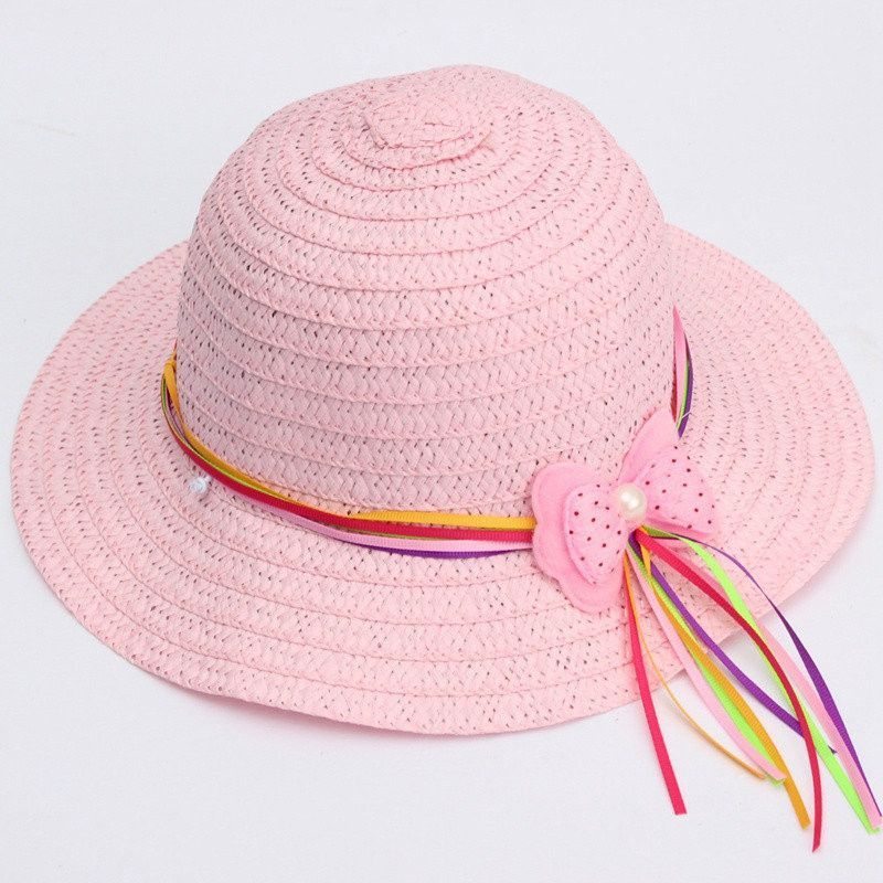 Beach Sun Straw Hat 6 Candy Color Bow Kids Accessories Hollow Cap