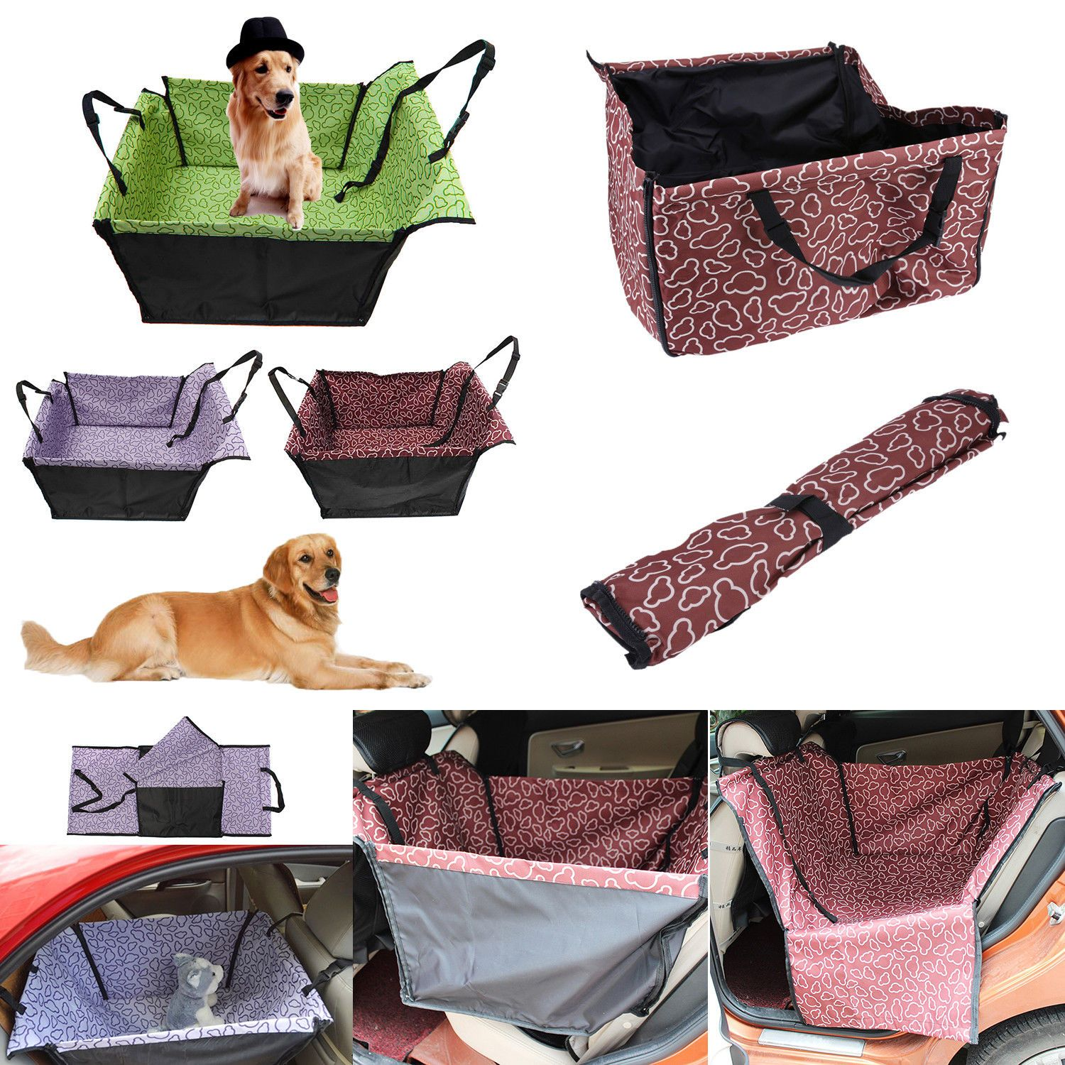 Car seats and barriers foldable pet dog car hammock back seat