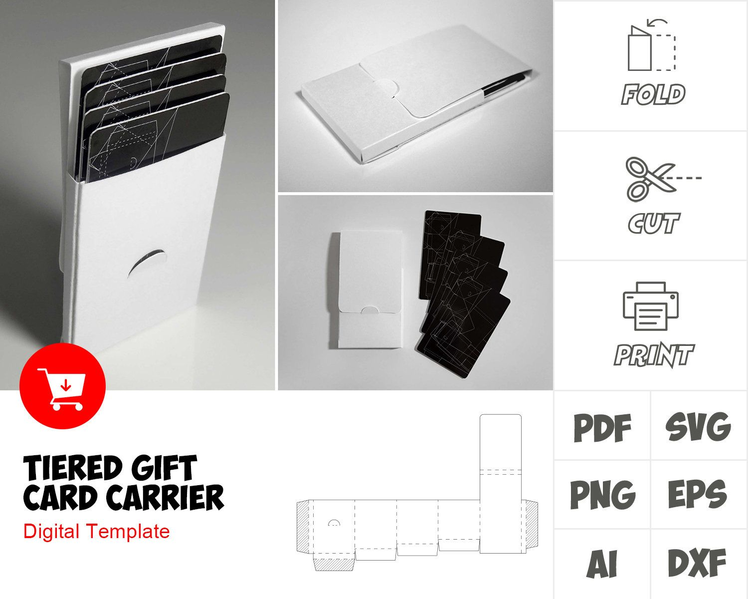 Tiered Gift Card Carrier Template Printable Box Template Gift Box Template Paper Box Template