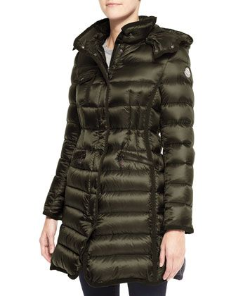 3a3bfd44f Hooded Long Puffer Coat Olive | Coats | Long puffer coat, Puffer ...