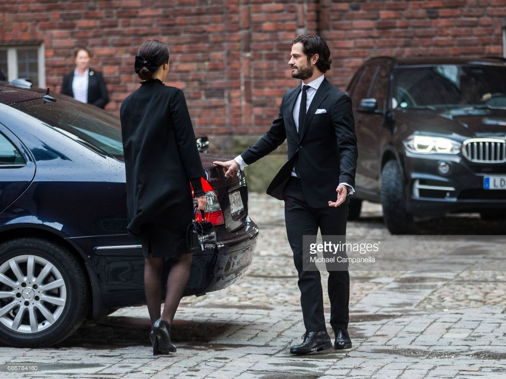 Princess Sofia and Prince Carl Phillip of Sweden leaving the city of Stockholm's official ceremony for the victims of the recent terrorist attack on April 10, 2017 in Stockholm, Sweden. Four people died and fifteen were injured after a hijacked truck crashed into the front of Ahlens department store in Stockholm on April 7, 2017.