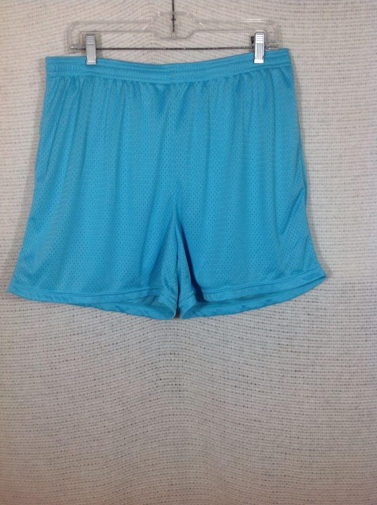 f6e52c5a8e Womens Champion Athletic Shorts L Turquoise Mesh Workout Drawstring 4