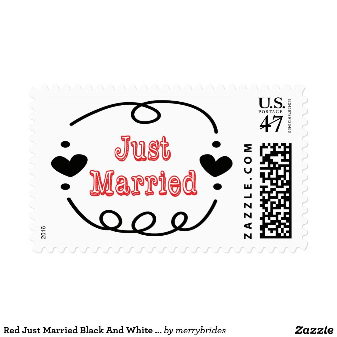 Red Just Married Black And White Wedding Postage