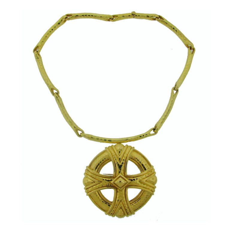 1980s Andrew Clunn Gold Pendant Necklace | 1stdibs.com