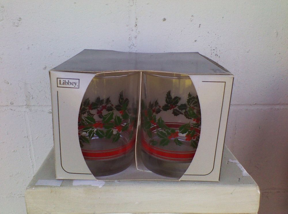 Vintage Libbey Glass Holiday Holly Berry Glasses Tumblers Set Of Four New In Box #Libbey