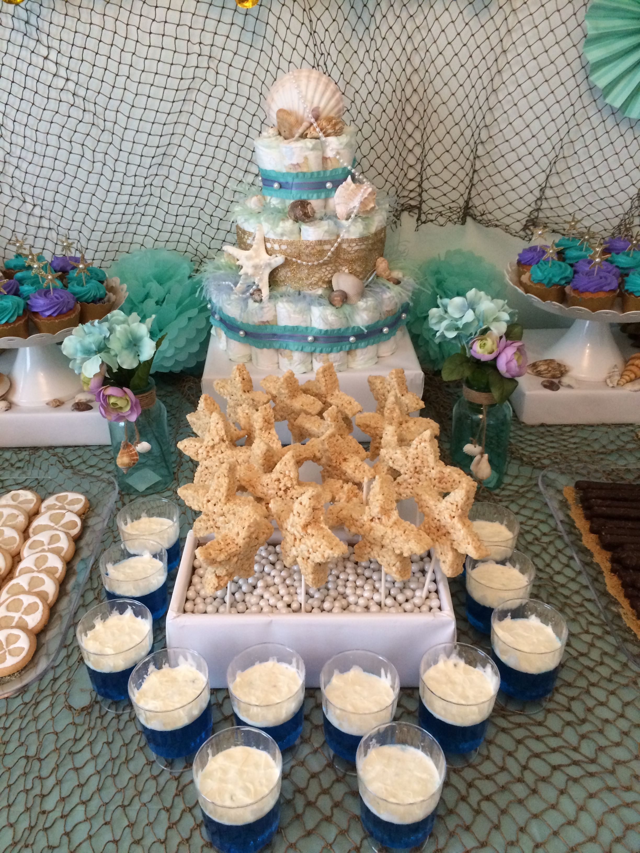 Under The Sea Baby Shower Mint Lavender And Gold Color Pallet