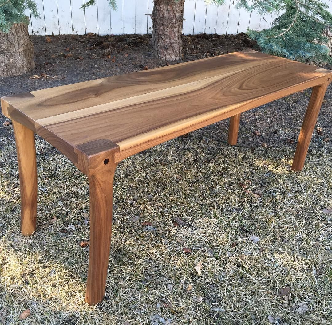 A Walnut Bench With Maloof Joint Legs Outdoors Stool Creative