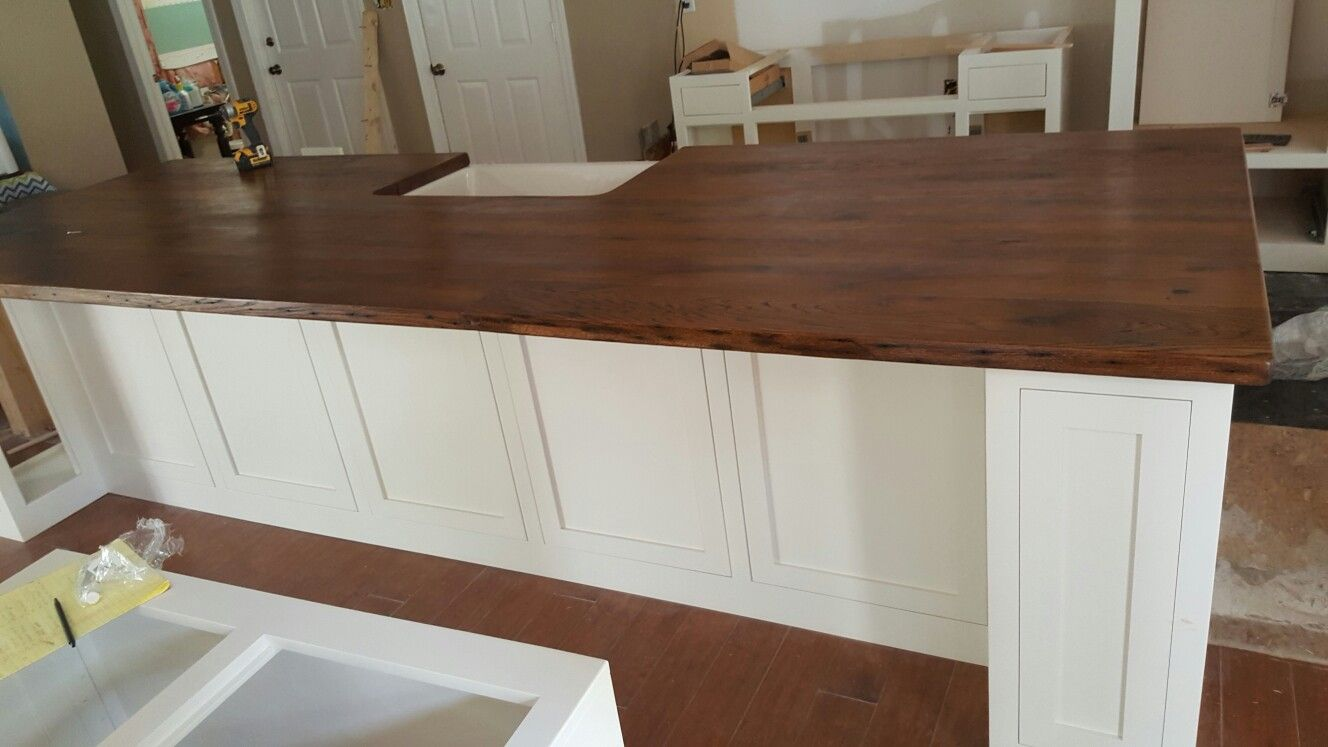 15 Ft Painted Maple Island With Reclaimed Oak Countertop