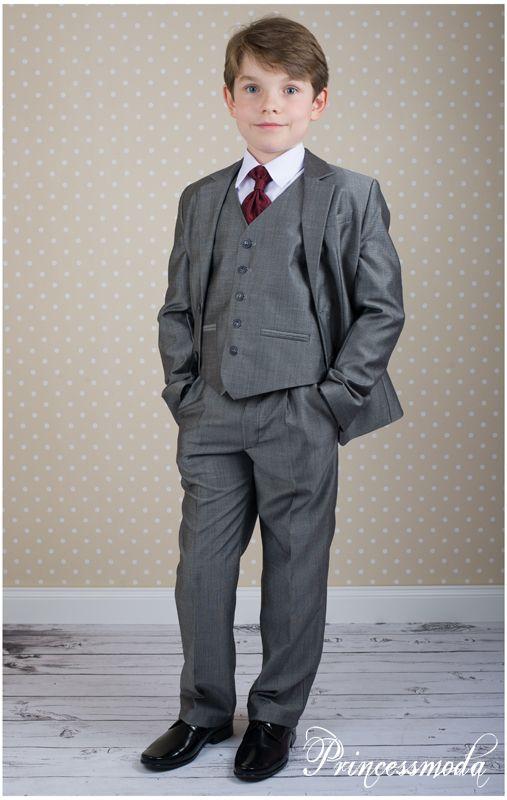 Nr 19 festlicher anzug in grau princessmoda alles f r taufe kommunion und festliche - Festliche kleidung jungen ...