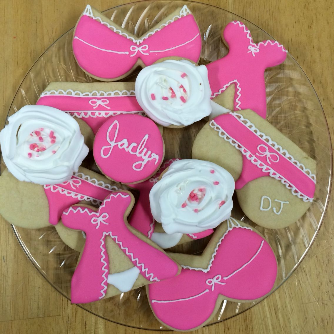 Lingerie Royal icing bachelorette party sugar cookies. Pink and ...