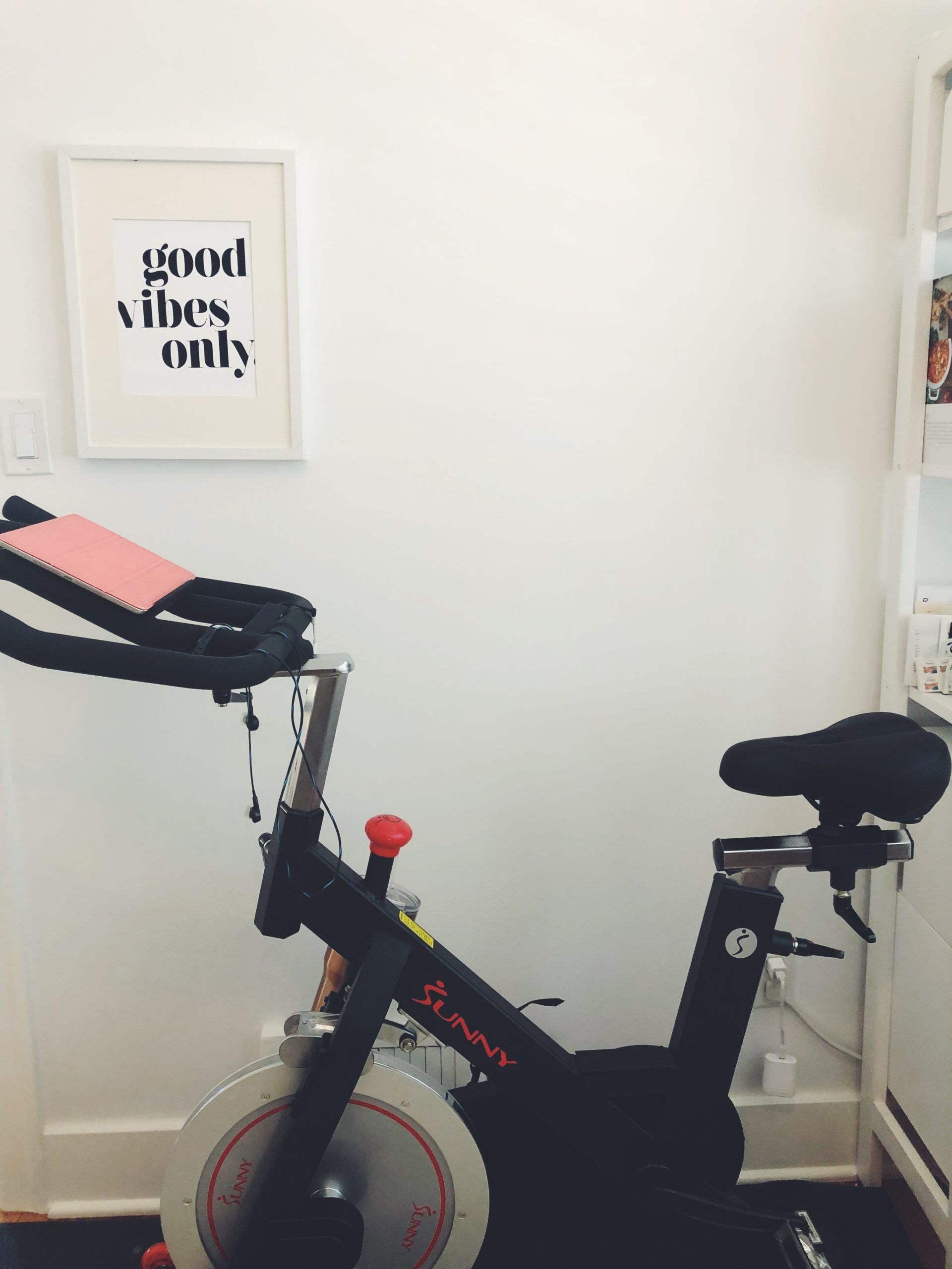My New Spin Bike Workout Set Up At Home This Bike The Peleton App Simply Real Health In 2020 Spin Bike Workouts Biking Workout Spin Bikes