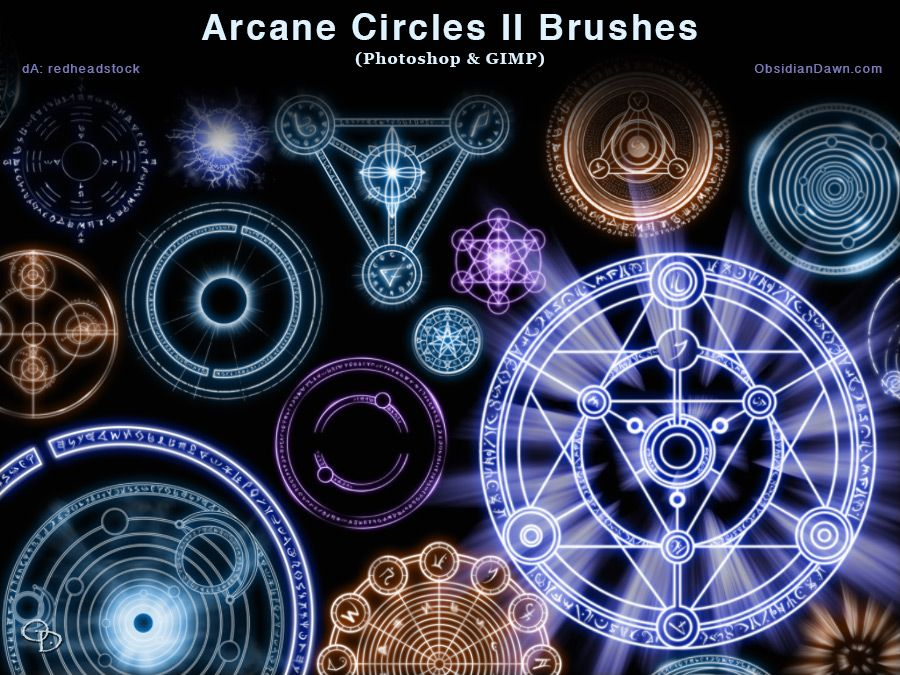 Brushes:28Compatibility:Photoshop CS-CS6, CC Photoshop Elements 3+ GIMP 2.2.6+Various arcane and magical circles and symbols. These are all original designs (and runes), but some are ba...