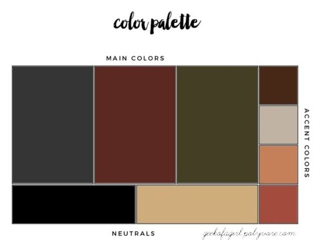 My Color Palette By Geekoirl On Polyvore Charcoal Gray Dark Brick Red Olive Green Black Tan Brown Peach Blush These Colors Show Up