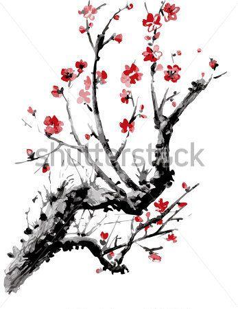 fleur de sakura r aliste cerisier japonais isol sur fond. Black Bedroom Furniture Sets. Home Design Ideas