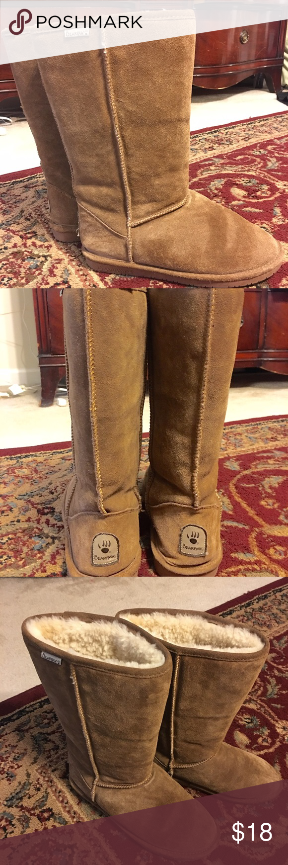 Bear paw women's boot Bear Paw's women's boot - offers a style that's well paired with denim, a casual skirt or a country dress.  Suede boots with synthetic soles - the inner boot has a sheepskin and wool blend lining very warm and comfortable.  The boots measure approximately 12 inches tall .  Worn only once or twice.  Excellent condition!! BearPaw Shoes Winter & Rain Boots
