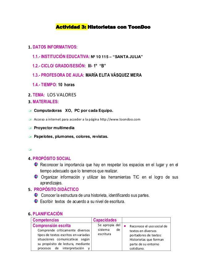 Actividad 3 Historietas con ToonDoo 1 DATOS INFORMATIVOS 11 - resume sample for cook
