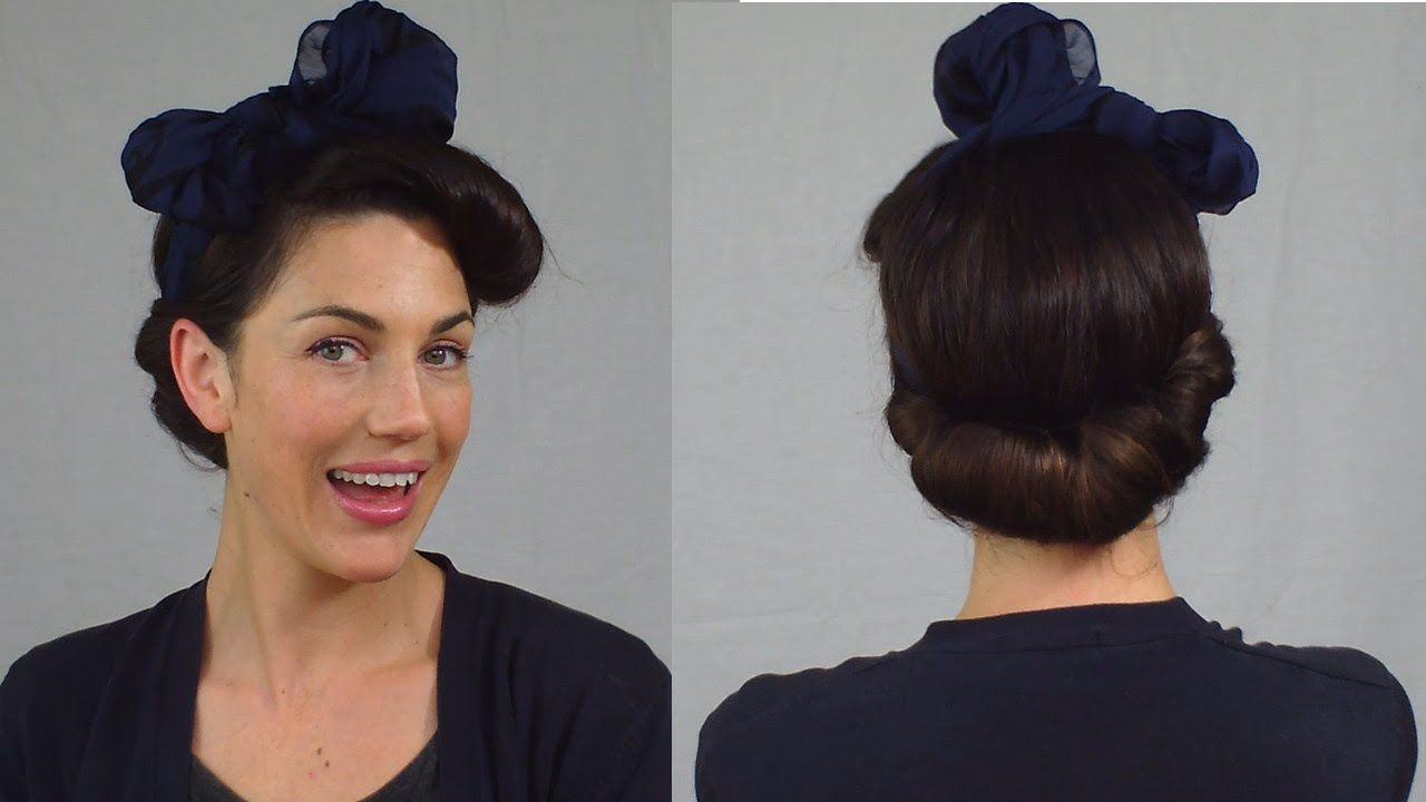 Easy pin up hairstyle vintage scarf roll updo vintagious