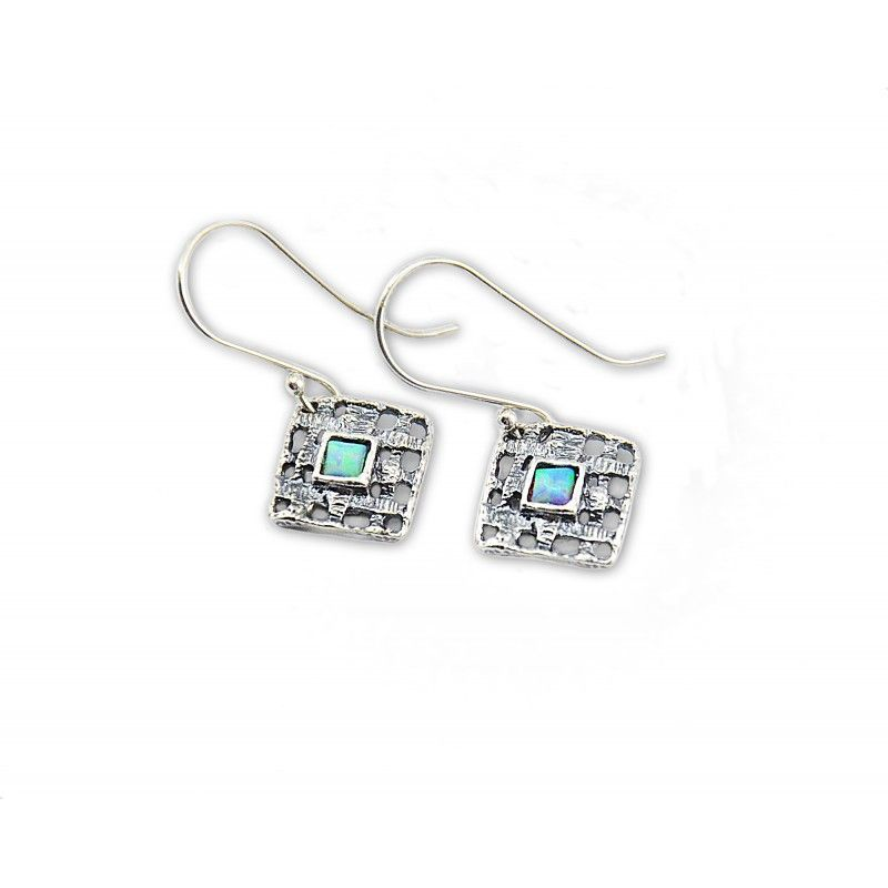 Sterling Silver Earrings With Opal Stones made in Israel   Silver ...