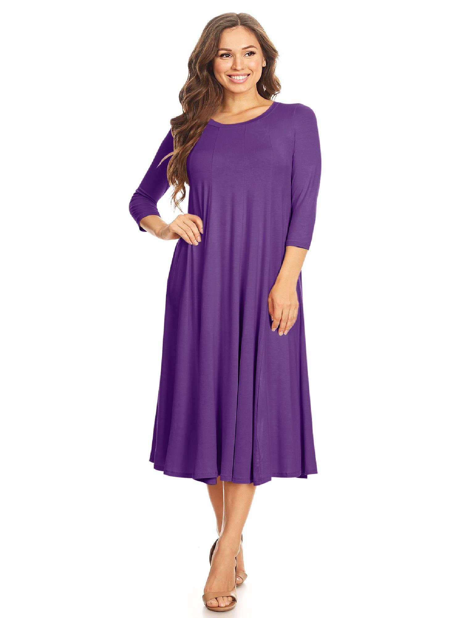 Moa Collection Women S Casual Basic Comfy 3 4 Sleeve Flare A Line Midi Long Maxi Dress Walmart Com Long Maxi Dress Maxi Dresses Casual Dresses [ 2000 x 1500 Pixel ]