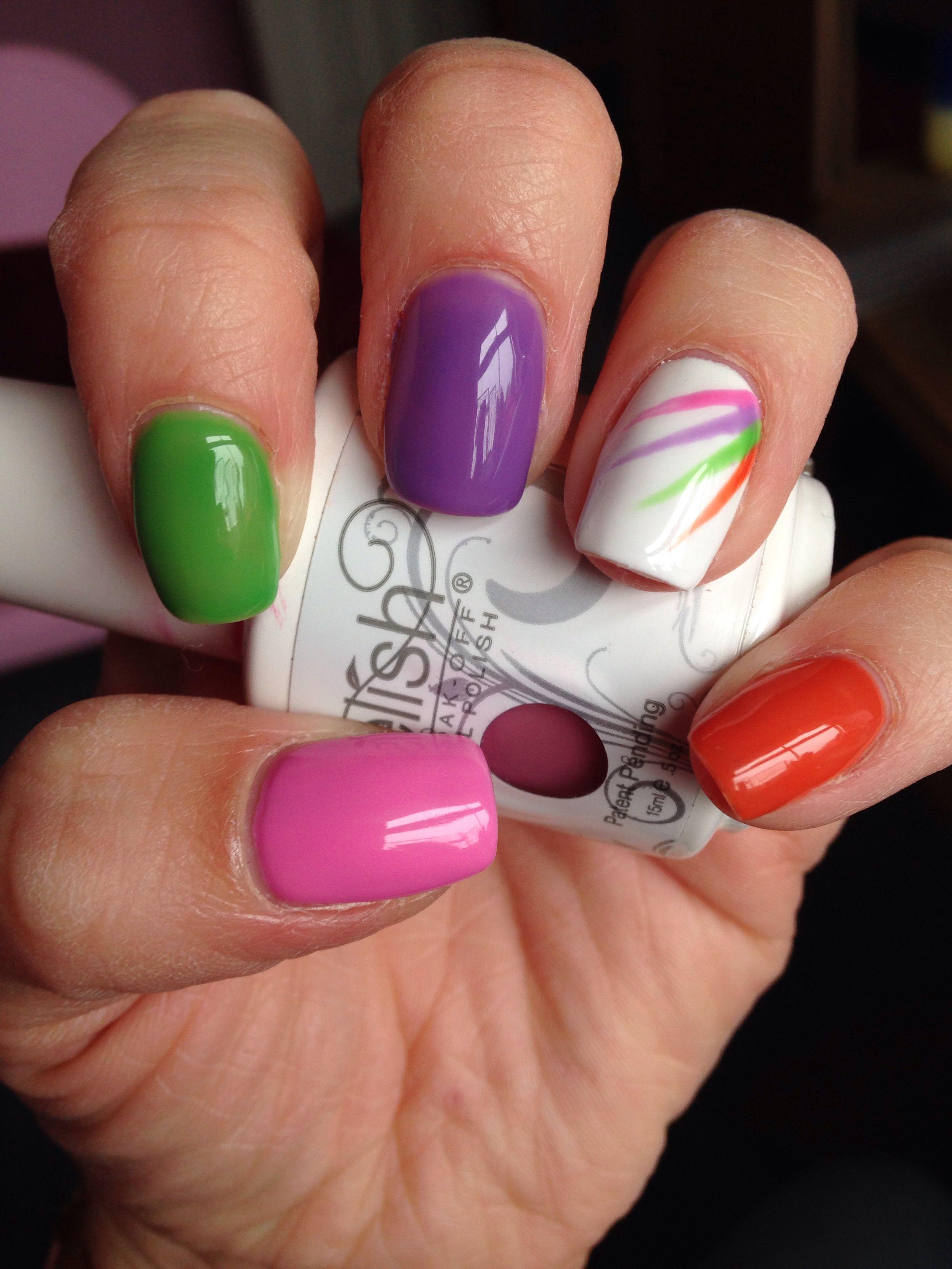 Multi colour gel nails pink purple green orange & white ...
