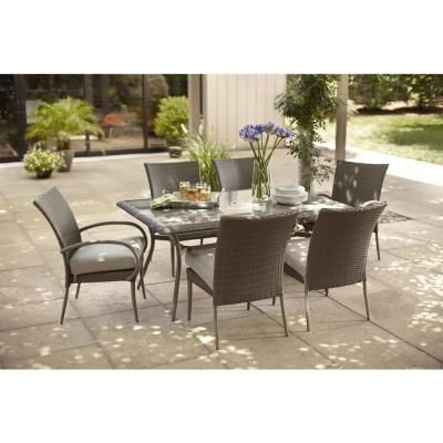 Awesome Hampton Bay Posada 7 Piece Patio Dining Set With Gray Cushions