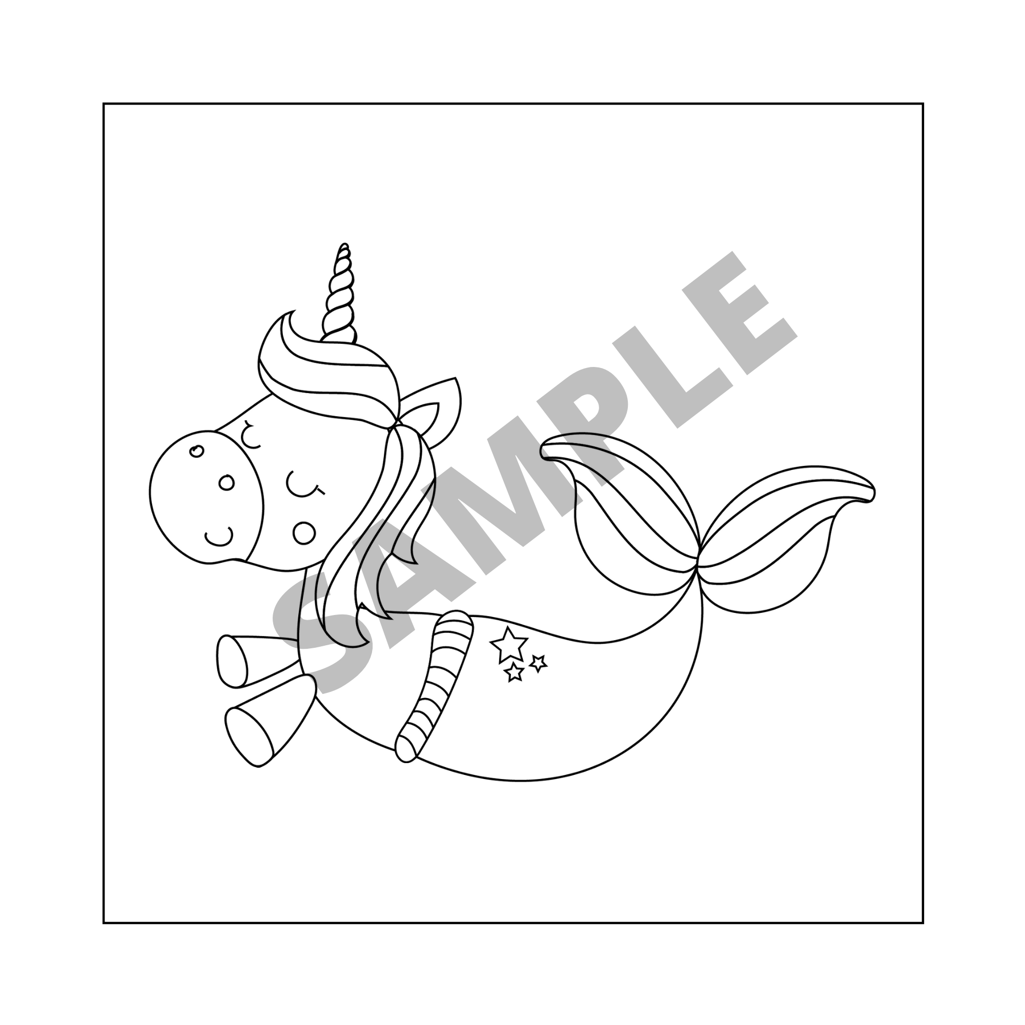 Sea Coloring Pages For Kids Unicorns Mermaids And Other Etsy Unicorn Coloring Pages Coloring Pages Animal Coloring Pages