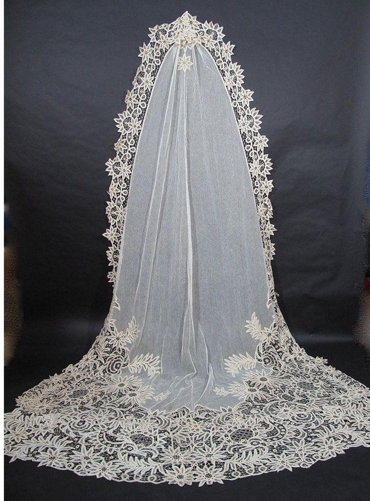 1900s Cathedral length Battenburg lace veil   Wedding Wonderland ...