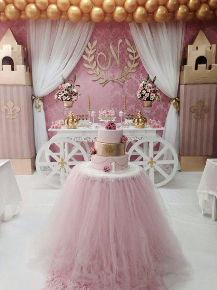 Birthday Princess Party Decorations Cake Table 1st Ideas