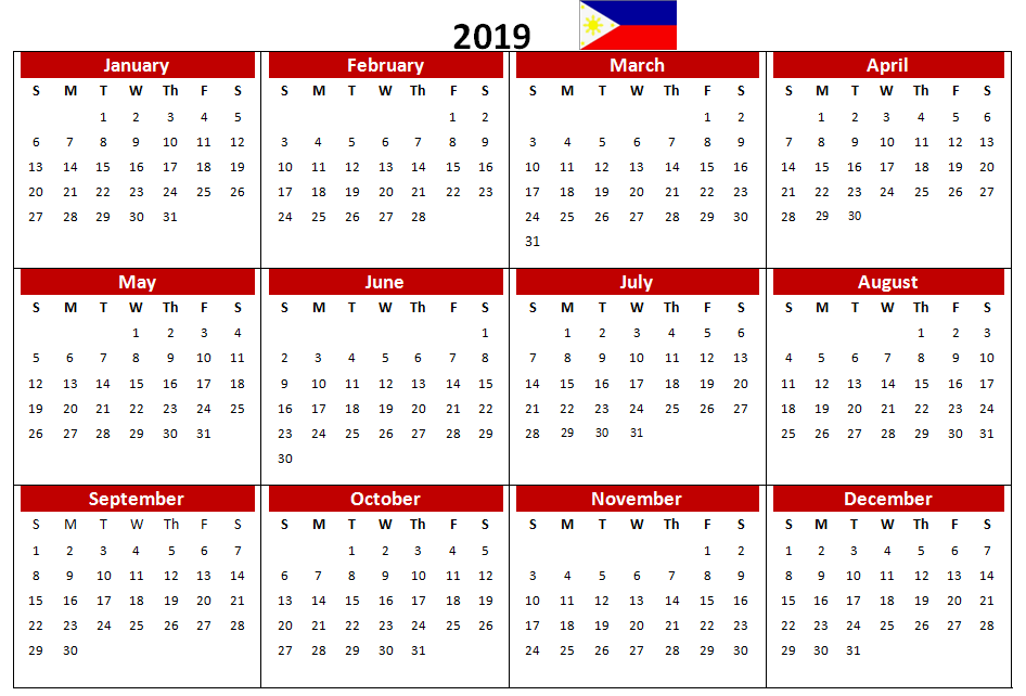 Philippines 2019 Pdf Printable Calendar Excel Calendar 2019