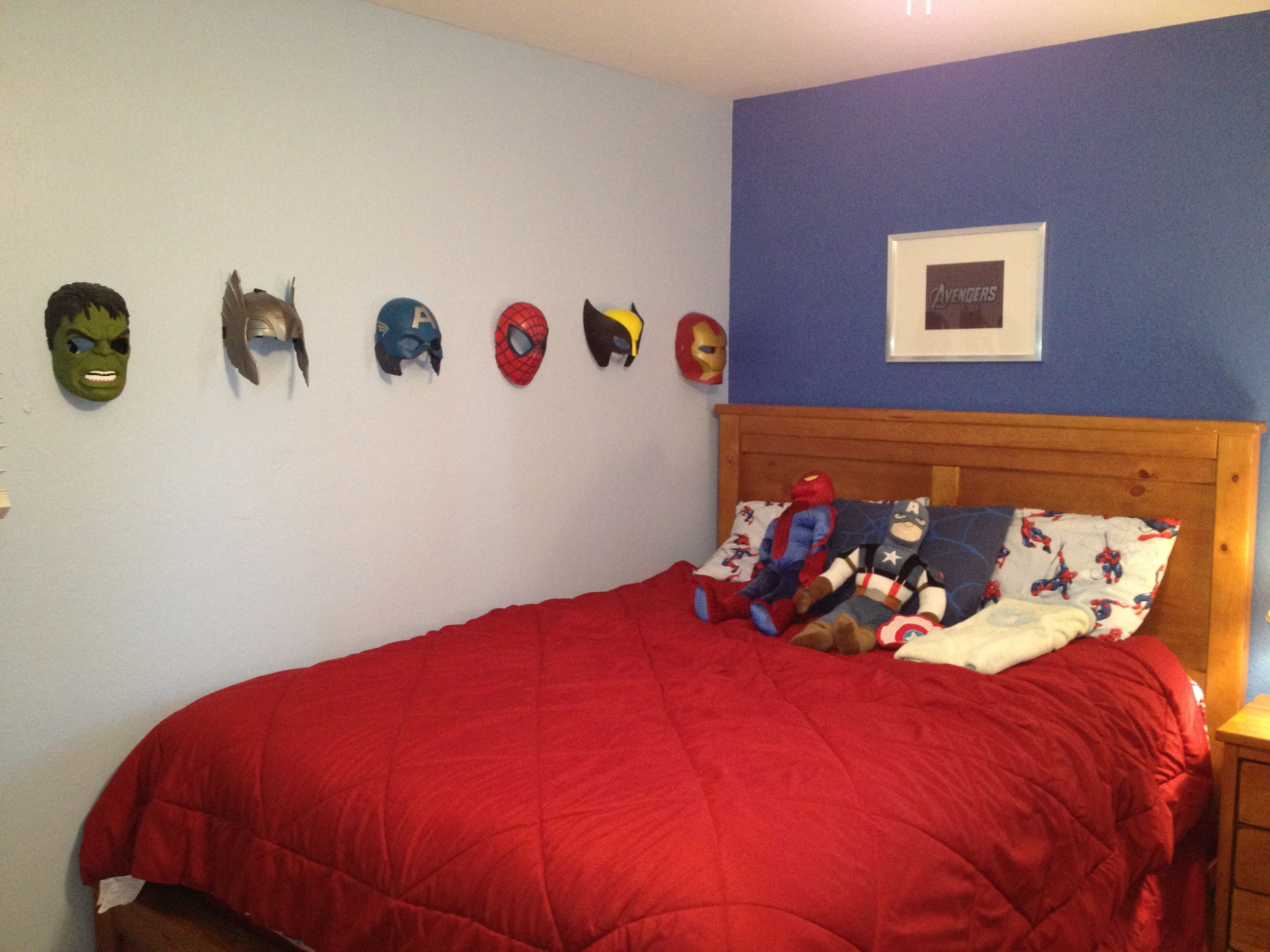 Avenger 39 s boys bedroom use masks as decoration by hanging on hooks frame comic books for more - Decoration of boys bedroom ...