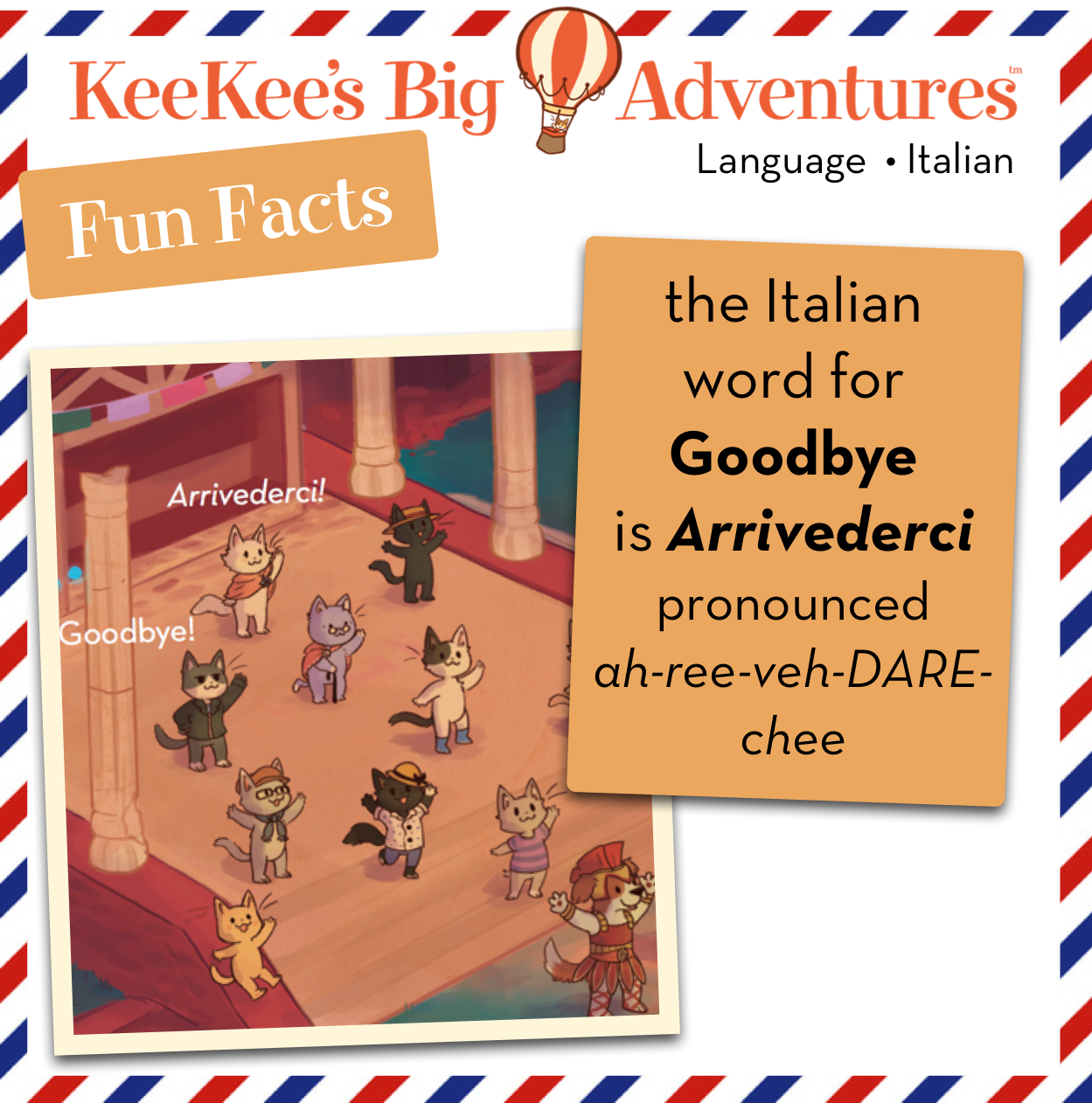 The italian word for goodbye is arrivederci fun facts italy the italian word for goodbye is arrivederci kristyandbryce Image collections