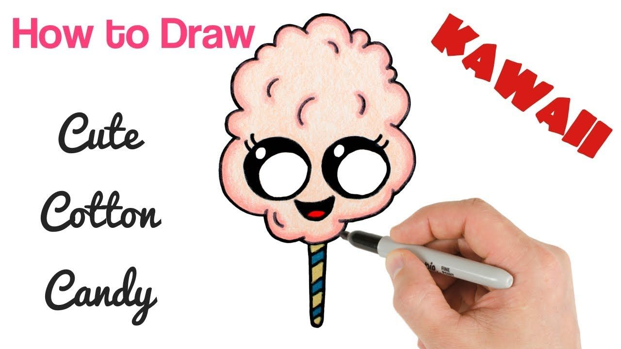 How To Draw Cotton Candy Cute Kawaii Food Drawing With Images